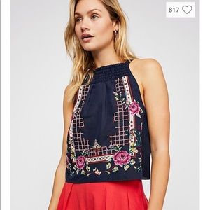 Free People Honey Pie cropped embroidered tank S